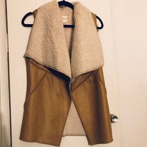 Faux Suede and Sherling Vest